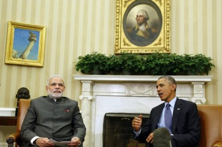 2014U.S. President Barack Obama talks next to India's Prime Minister Narendra Modi in the Oval Office of the White House in Washington.(Reuters)
